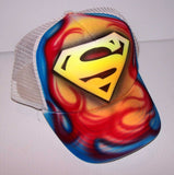Superman Flames Snap Back Airbrushed Trucker Hat
