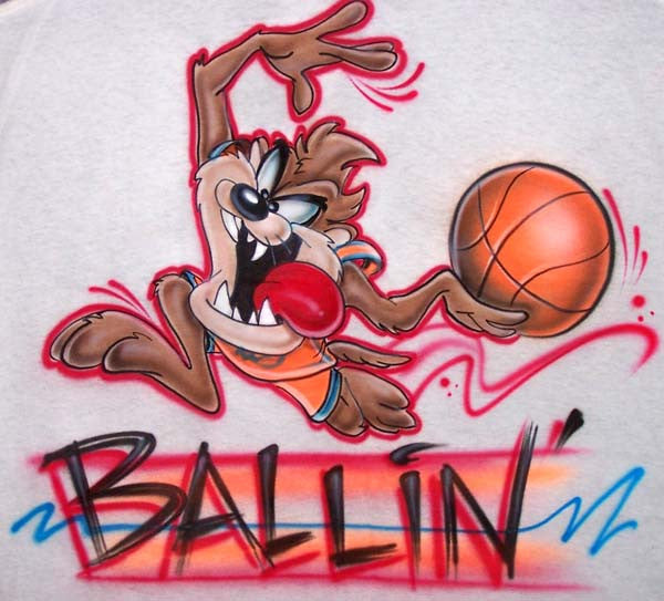 Airbrushed Tazmanian Devil Plays Basketball Personalized Shirt