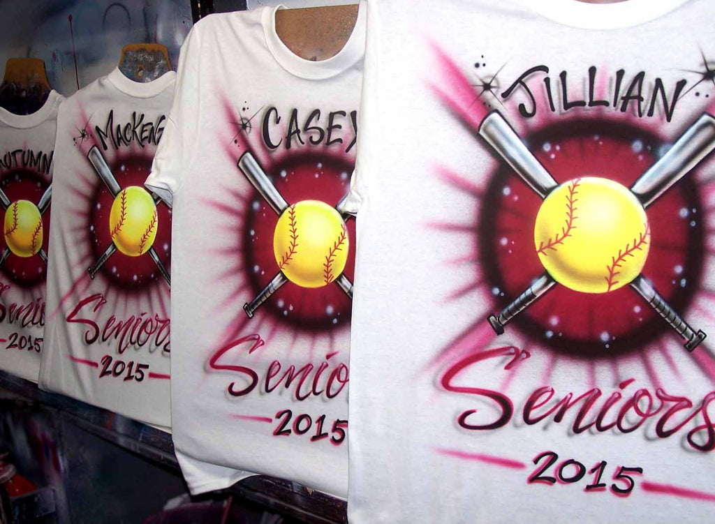 Airbrushed Softball Team Shirt Front & Back Design with Name/ #