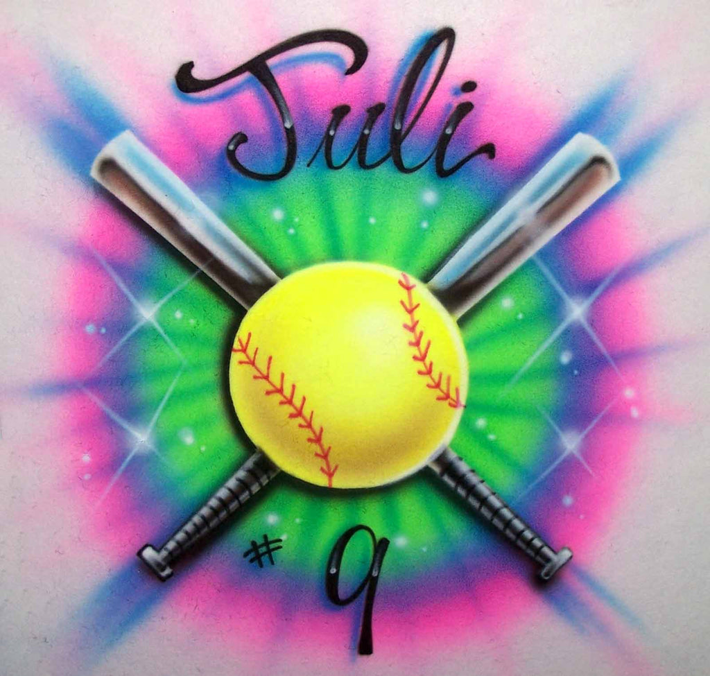 19783df3 Colorful Airbrushed Softball & Crossed Bats Personalized Shirt