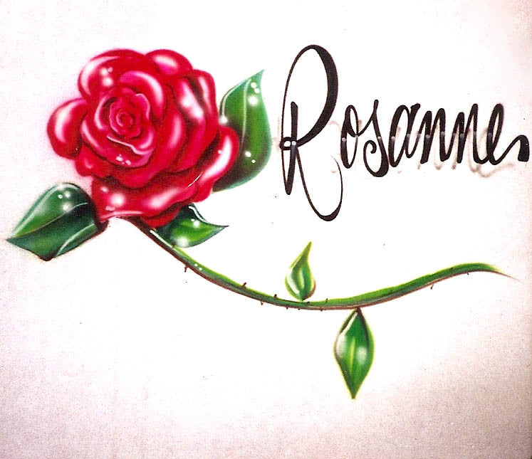 Painted Rose and Name Airbrushed on T-shirts, Sweatshirts, and Hoodies