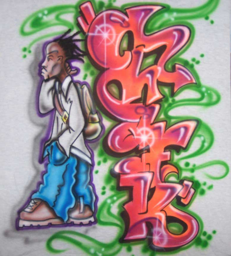 Personalized Graffiti Name & Character Airbrushed Tee or Sweatshirt