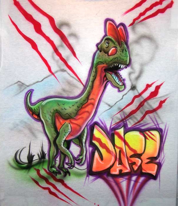 Velociraptor Airbrushed Personalized Dinosaur Shirt