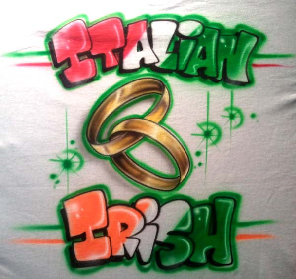 Airbrushed Wedding Rings with Bride & Goom Heritage Themed Shirt Design