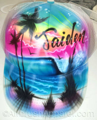 Snap Back Trucker Hat With Airbrushed Beach Scene Palm Trees Personalized