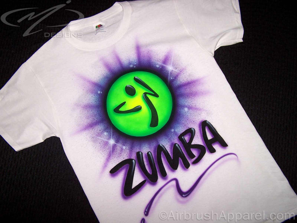Design t shirt zumba - 2 Sided Zumba Themed Personalized Airbrushed Shirt