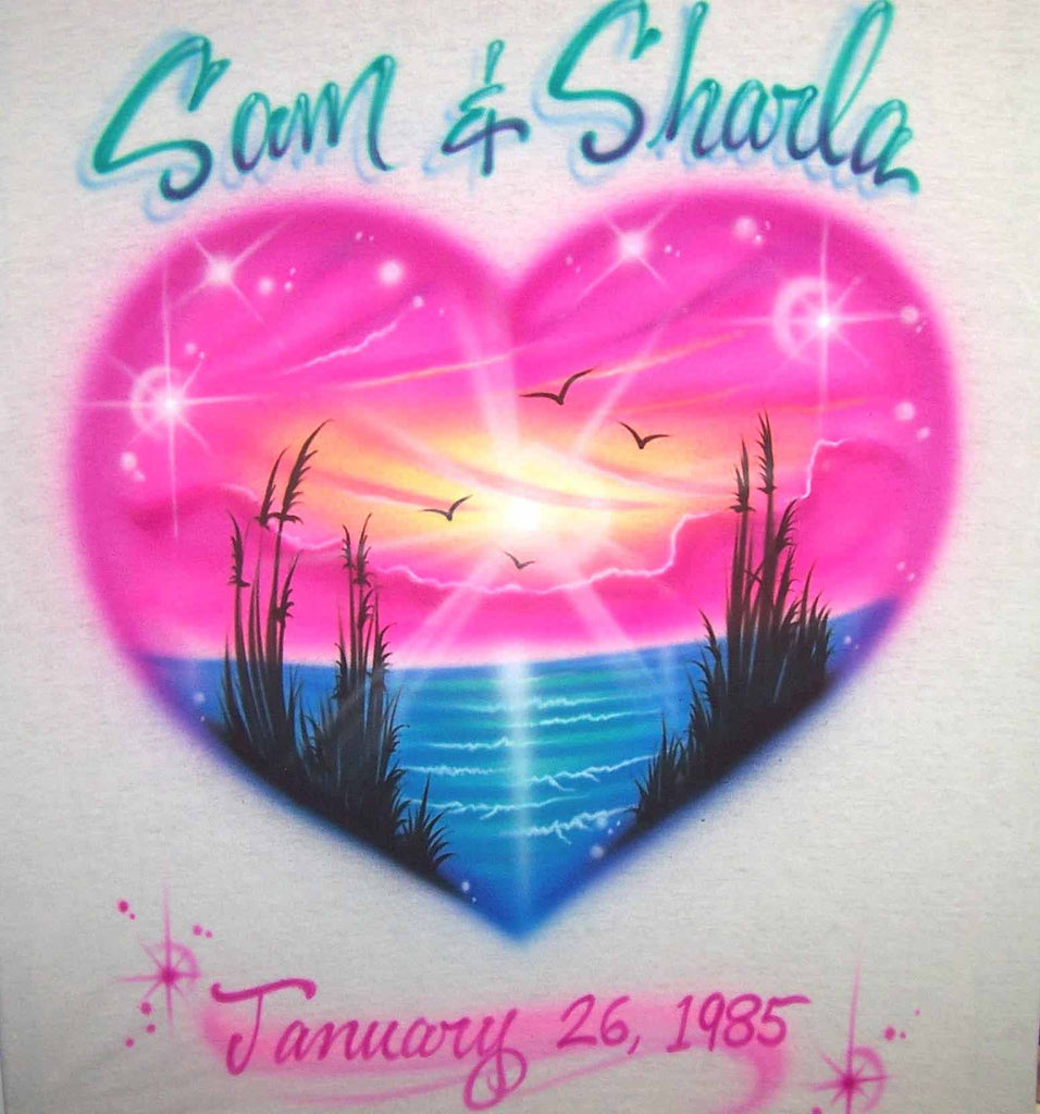 Bright Heart Shaped Beach Scene Double Name with Date Custom Airbrushed Shirt