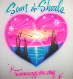 airbrush heart beach couples t shirt