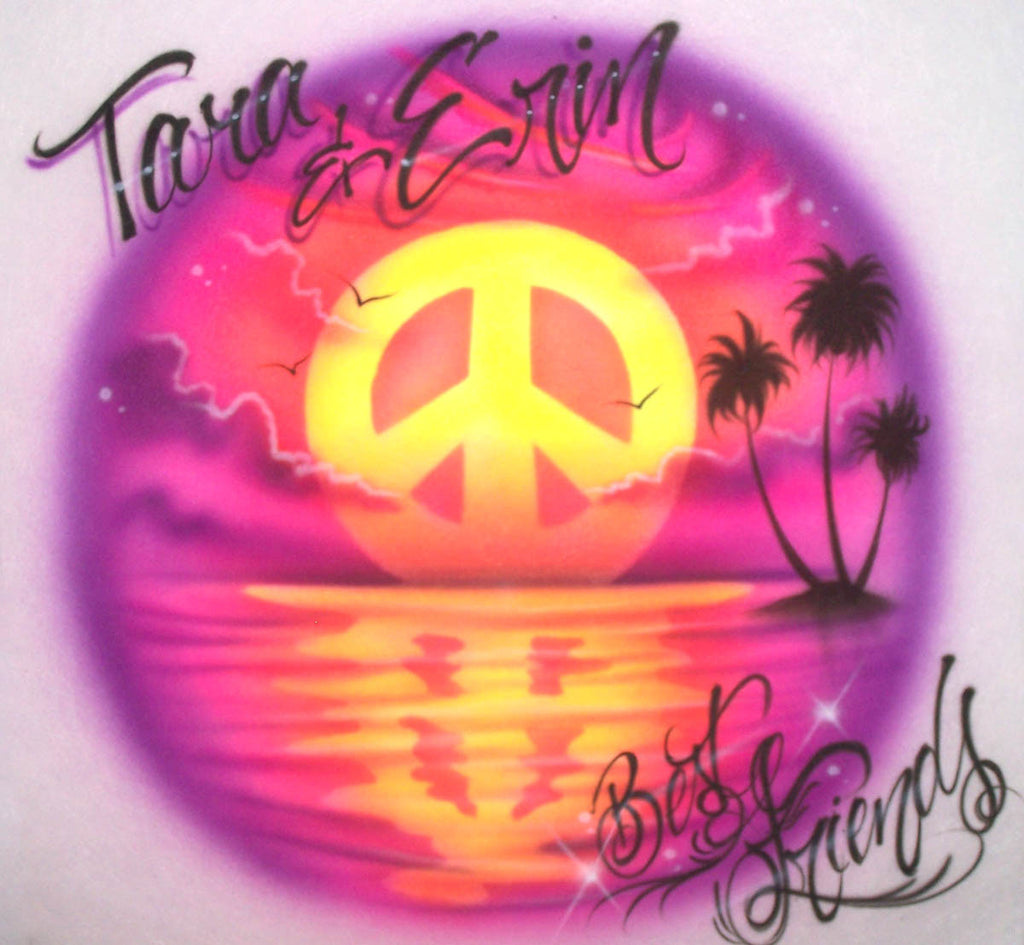 Best Friends Beach Scene & Peace Sign Sunset Airbrushed Design