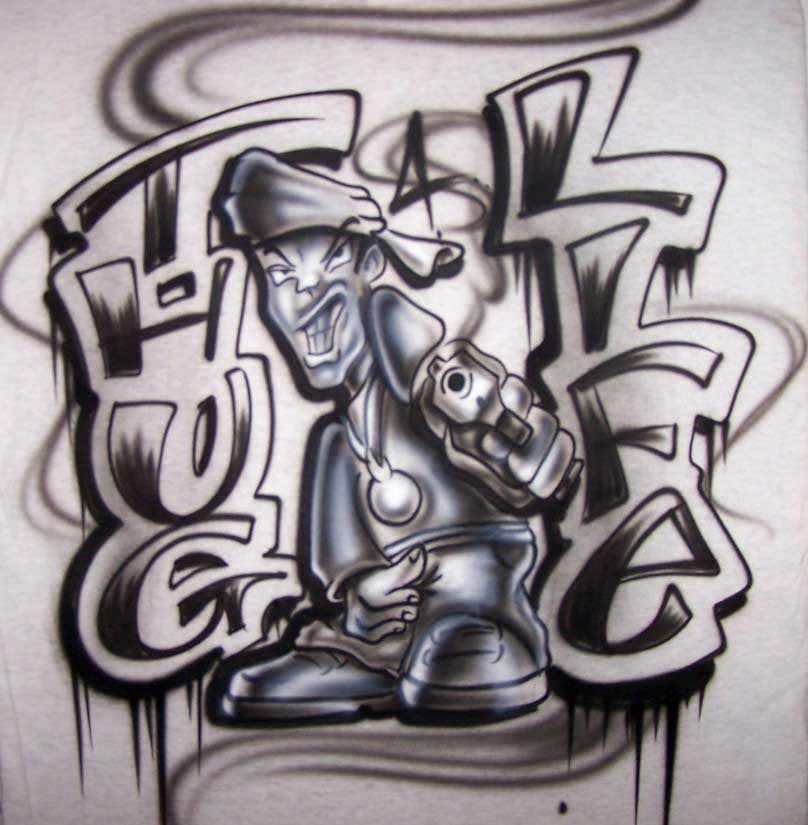 Airbrushed Thug 4 Life Graffiti Cartoon Urban Shirt Design