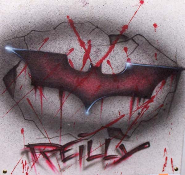 Dark Night Personalized Blood Splatter Bat Symbol Airbrushed Shirt