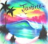 Bright Sunset beach scene airbrushed t-shirt