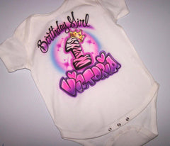 Birthday Girl Onesie with Tiara Airbrushed
