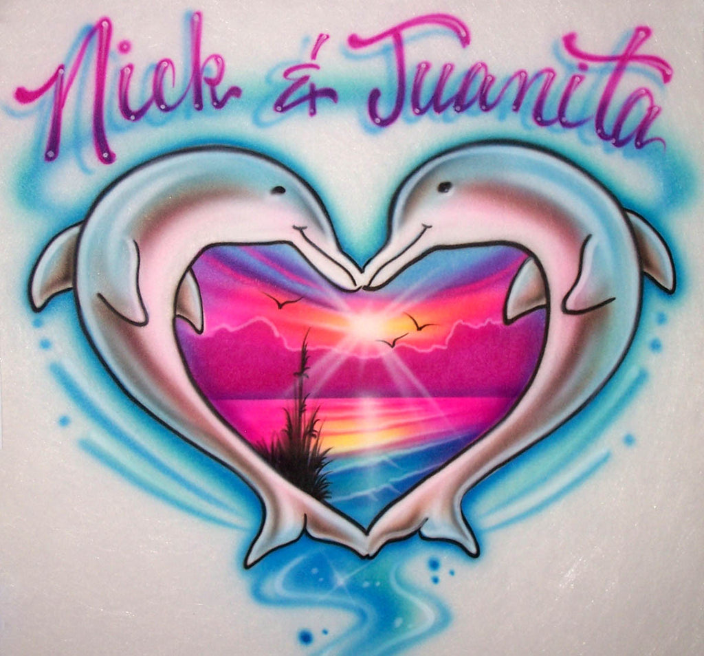 Dolphin Heart & Beach Scene Airbrushed Couples Design