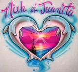 Airbrushed Dolphin Heart beach scene & couples name shirt