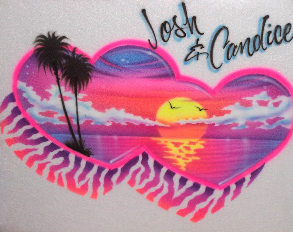 Bright Heart Sunset with Zebra Print Airbrush Shirt Design for Couples