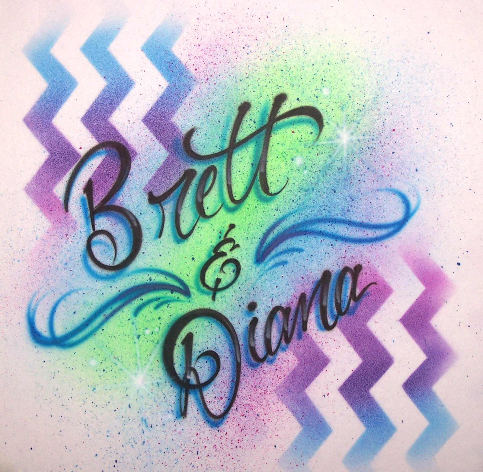double name airbrushed chevron graphic paint background