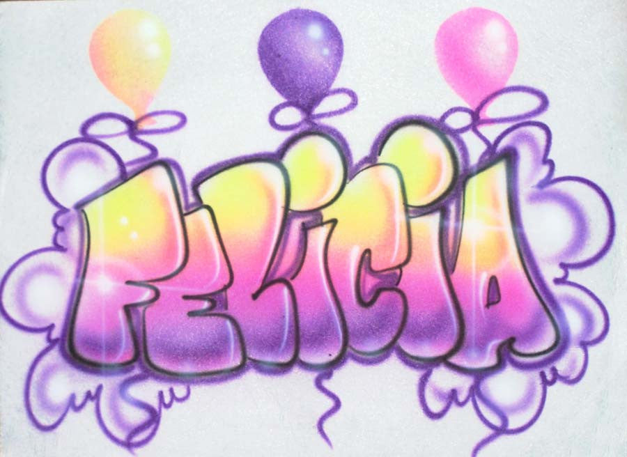 Bubble Name & Balloon Birthday airbrush t shirt