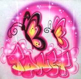 Neon Butterfly airbrushed name