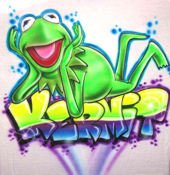 Airbrushed Kermit Frog Custom Shirt