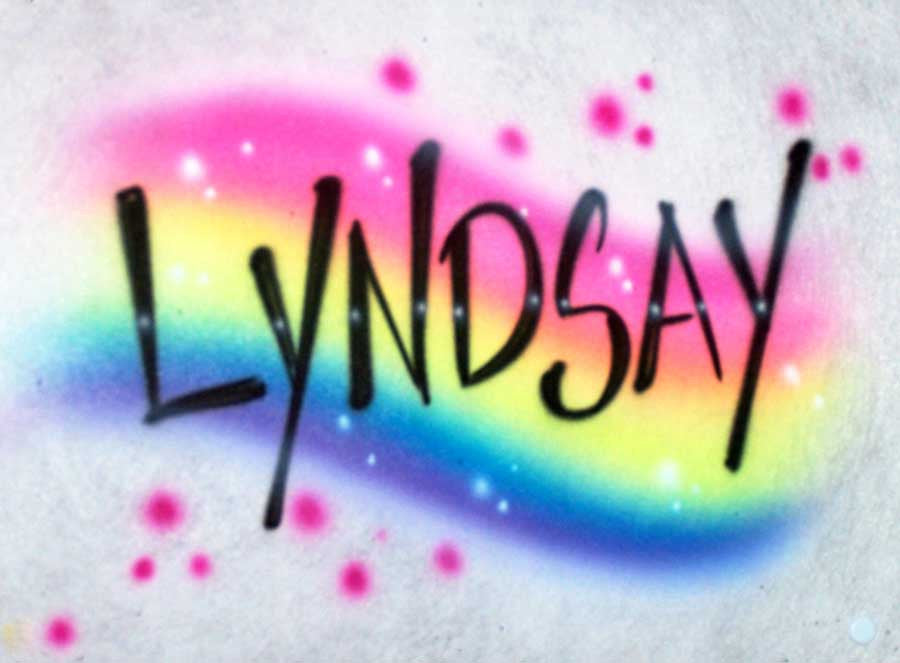 Rainbow name design airbrush tshirt