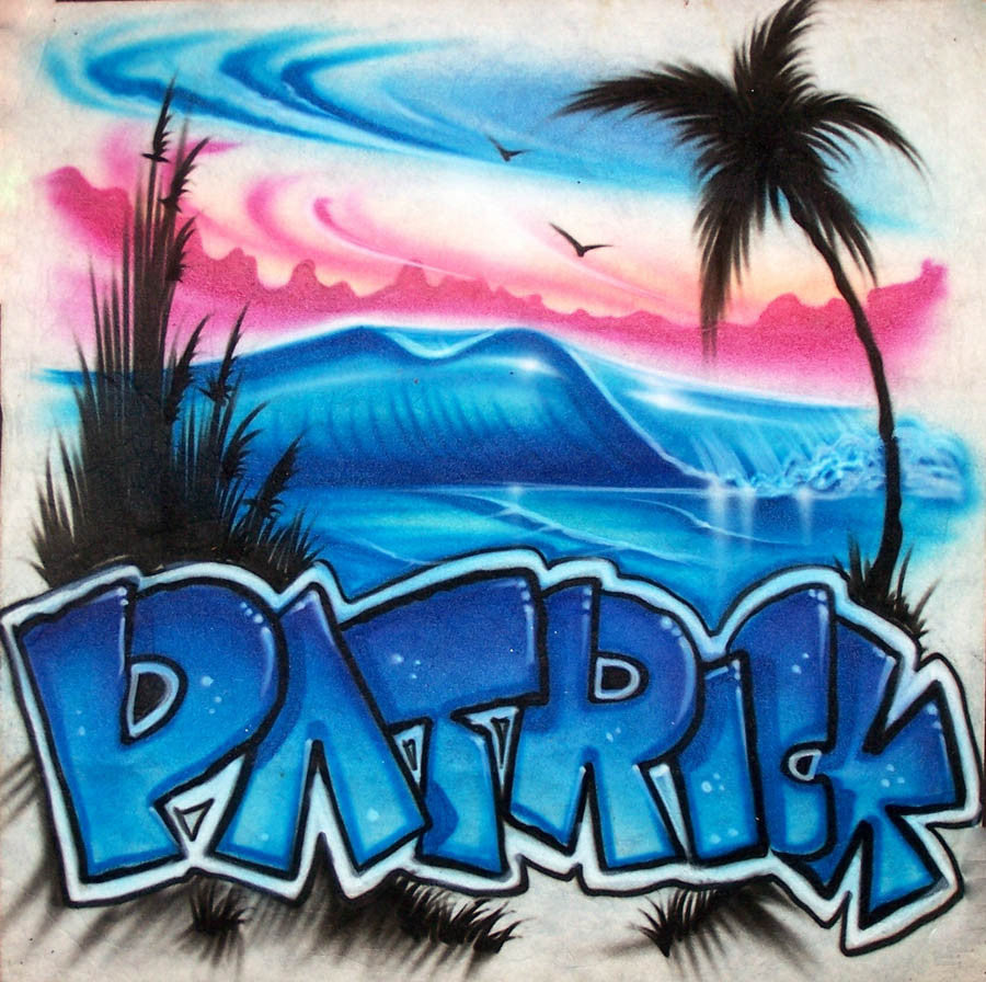 Airbrushed Beach, Waves & Palm Tree with Graffiti Name