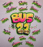 School Bus Kids Names Airbrushed Shirt Back