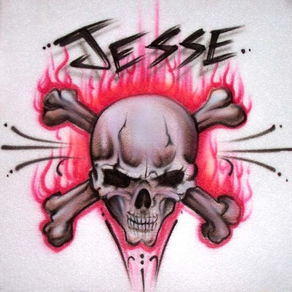 Flaming Skull & Crossbones Airbrushed Shirt