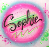 Personalized Custom T-shirt Airbrush script neon paint