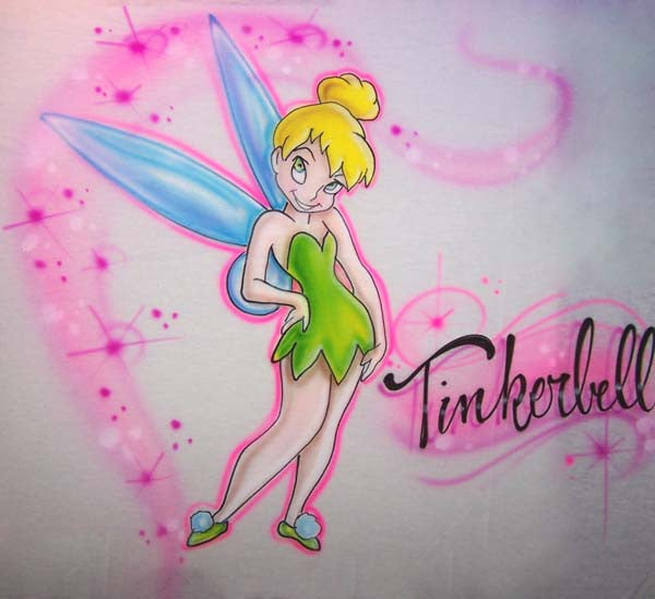 Airbrushed Tinkerbell Custom Shirt Design