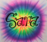 Tie dye airbrushed name design t shirt
