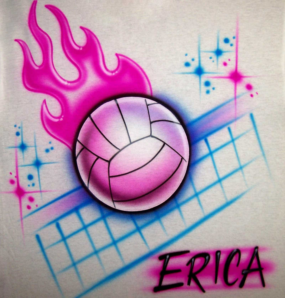 Personalized Flaming Volleyball Airbrushed Shirt