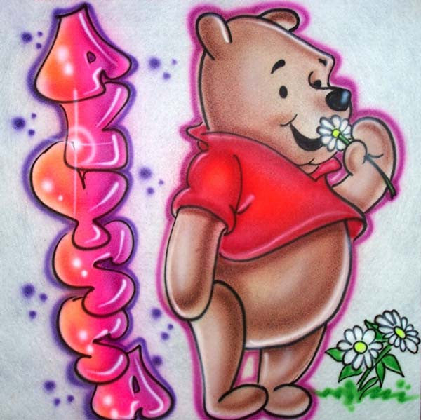Airbrushed custom Winnie the Pooh personalized shirt design