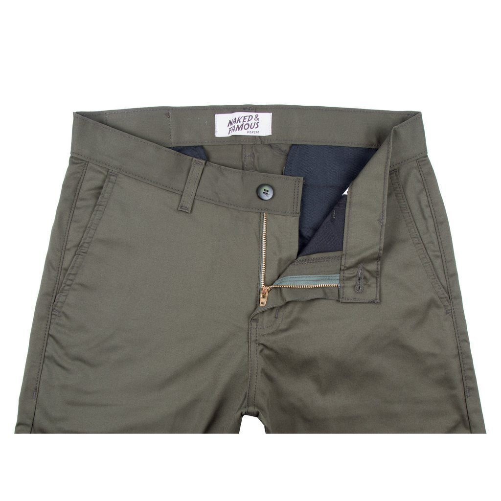 Naked & Famous - Slim Chino - Khaki Green Stretch Twill