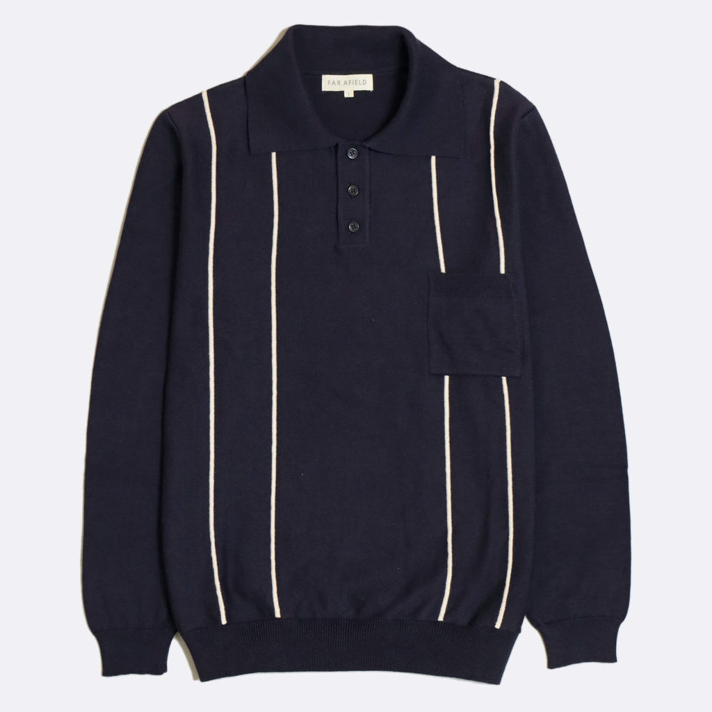 Far Afield - Alfaro Long Sleeve Polo - Navy/Ecru