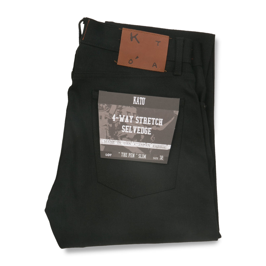 "KATO' 4-Way Stretch Selvedge ""The Pen"" Black Raw - City Workshop Men's Supply Co."