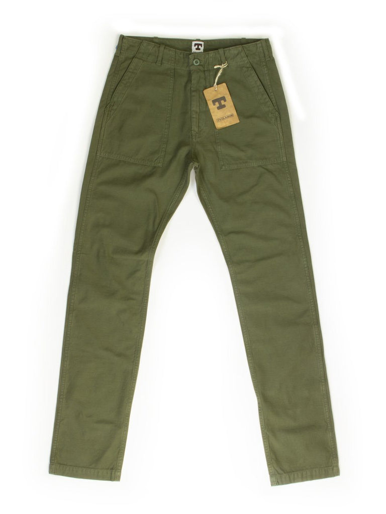 Tellason Fatigue Pant Olive Sateen Original Tapered Leg