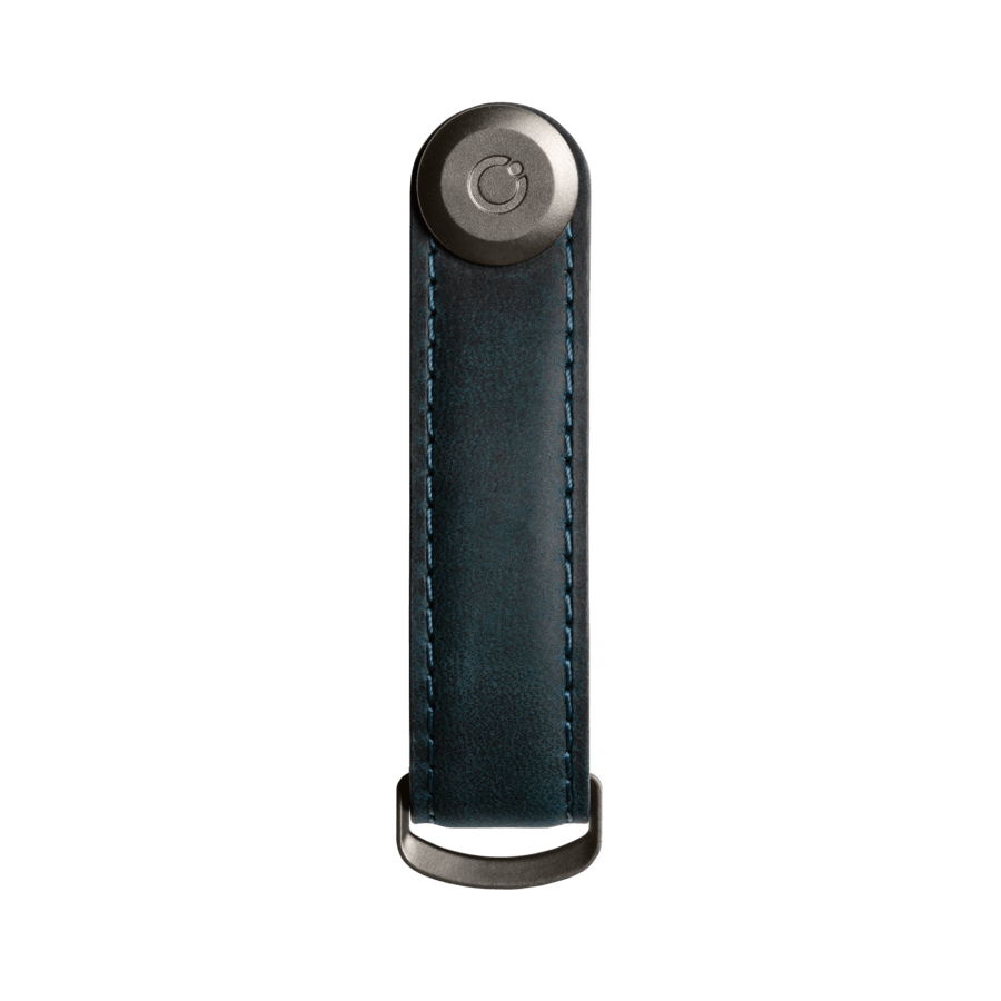 Orbitkey - Key Organiser Crazy-Horse - Marine Blue with Blue Stitching