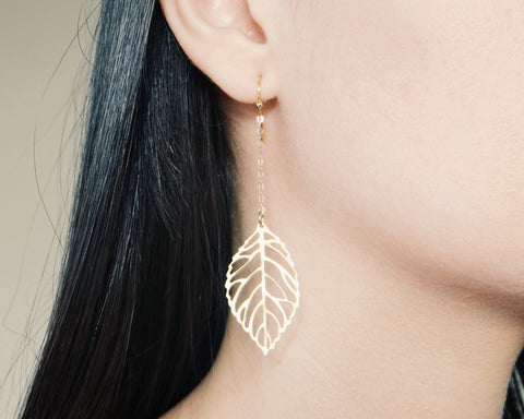 Chain & Leaf Earrings