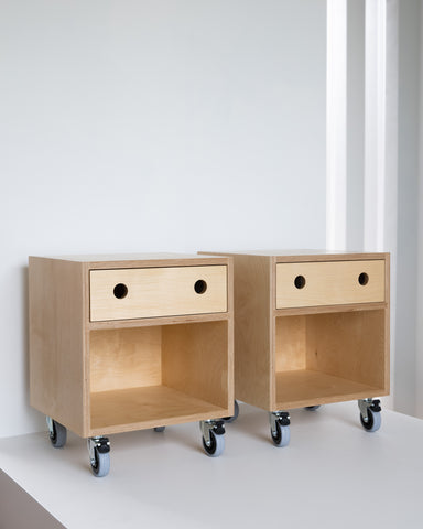 Birch plywood Bedside on wheels