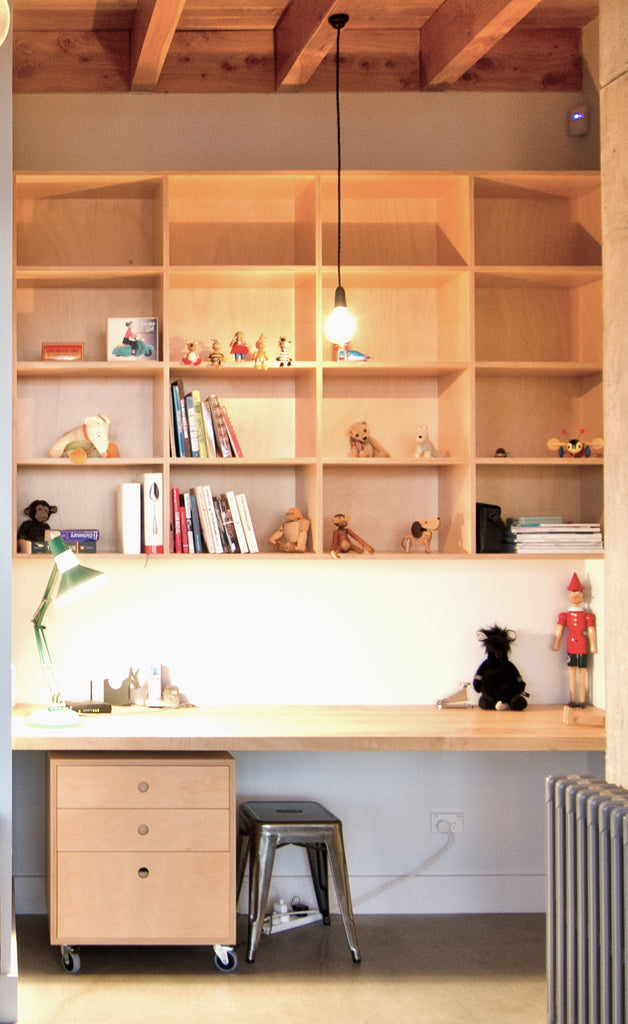 Hoop pine home office, shelving and work space