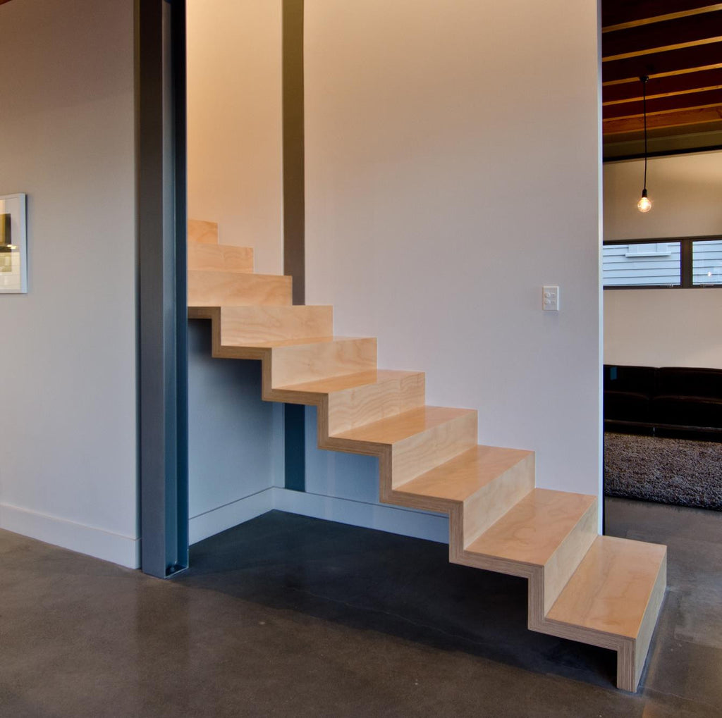 Hoop pine floating staircase