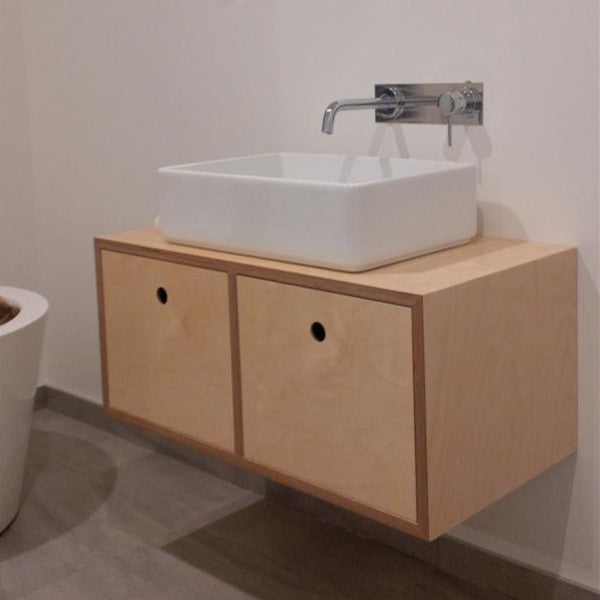 ... Birch plywood vanity, wall hung and made in New Zealand ...
