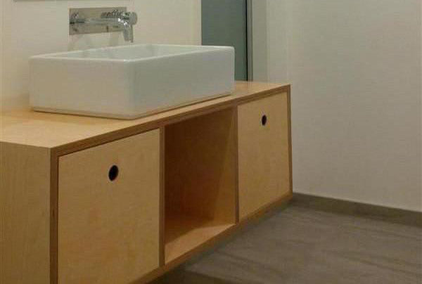 Birch plywood vanity, wall hung and made in New Zealand