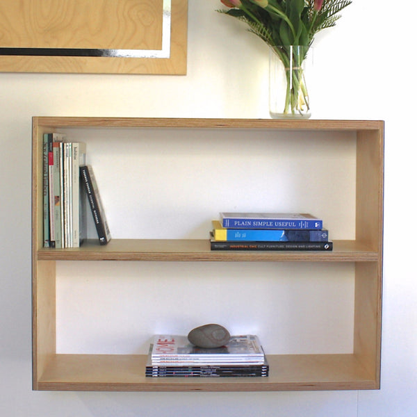 Birch plywood floating shelf and storage, supplied with brackets ready to fix to the wall