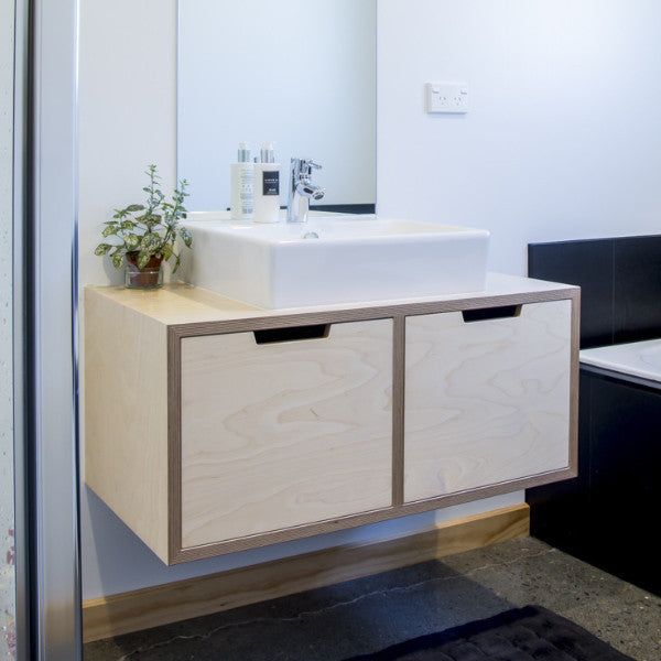 ... NZ Birch Plywood vanity, wall hung with top mounted basin made in  Nelson, NZ