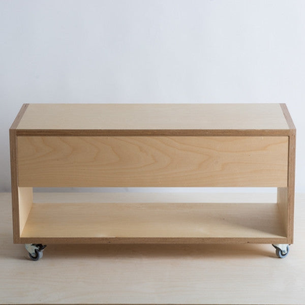 Plywood TV cabinet with drawer on lockable castors