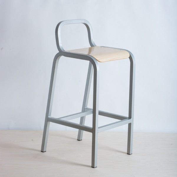 High barstool with large plywood base on a light weight frame