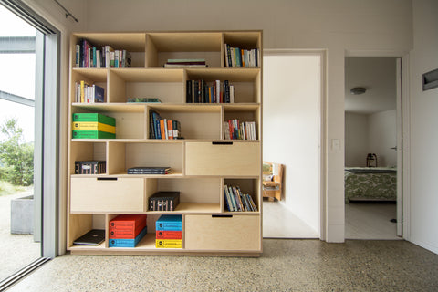 Plywood bookshelf and office storage