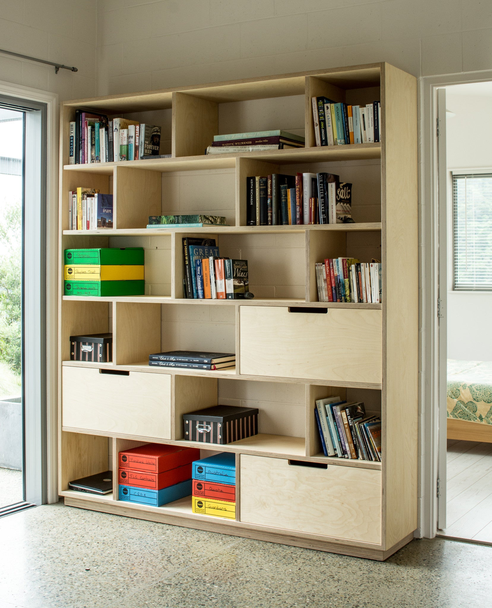 Plywood Bookshelf Storage And Home Office Combined Together